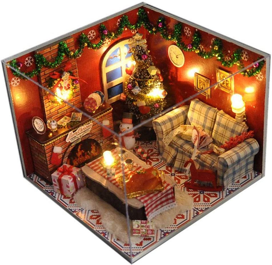 Flever Dollhouse Miniature DIY House Kit Creative Room with Furniture and Glass Cover for Romantic Artwork Gift(Dreamlink of Christmas)