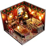 Flever Dollhouse Miniature DIY House Kit Creative Room with Furniture and Glass Cover for Romantic Artwork Gift(Christmas Eve