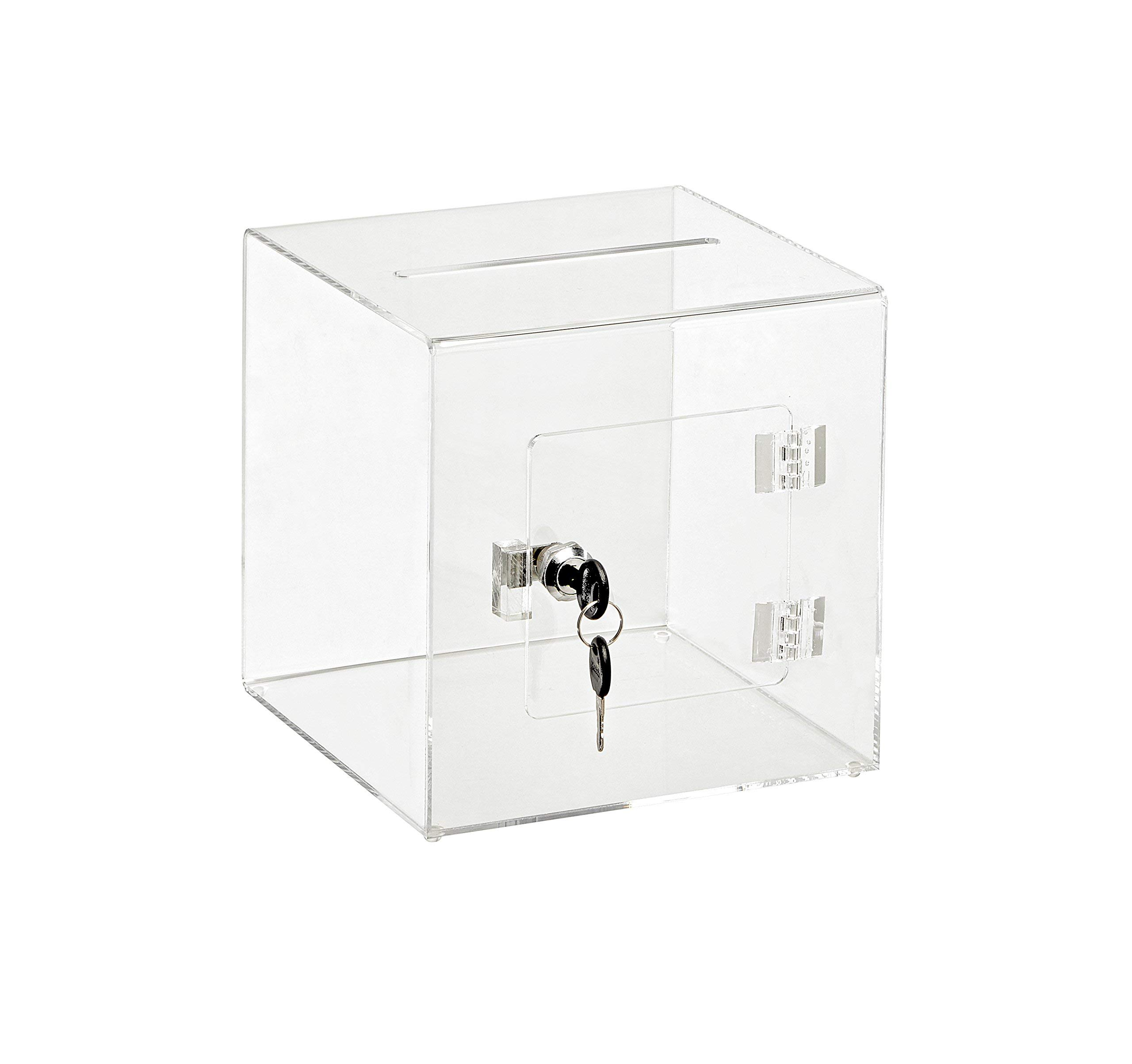 AdirOffice 8'' x 8'' Acrylic Ballot Box Donation Box with Easy Open Rear Door - Durable Acrylic Box with Lock - Ideal for Voting, Charity & Suggestion Collection - Clear by AdirOffice