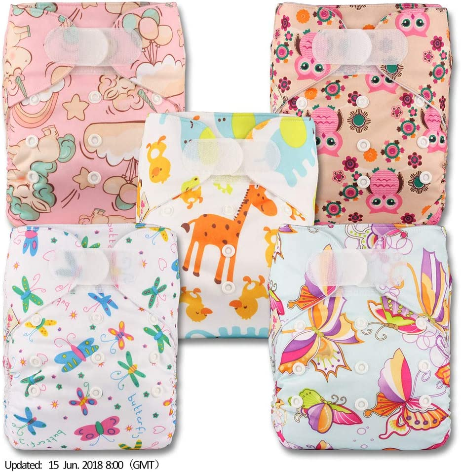 Patterns 502 Reusable Pocket Cloth Nappy with 5 Microfibre Inserts Fastener: Hook-Loop Littles /& Bloomz Set of 5