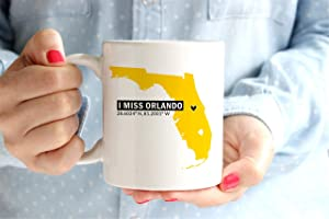 I Miss Orlando UCF Coffee Mug Cup University of Central Florida Home Coordinates Longitude & Latitude Go Knights UCF Knights