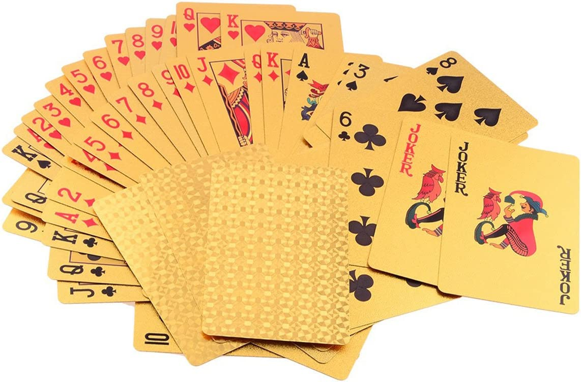 LLF Luxury 24K Gold Foil Poker Playing Cards Deck Carta de Baralho with Box Good Gift Idea