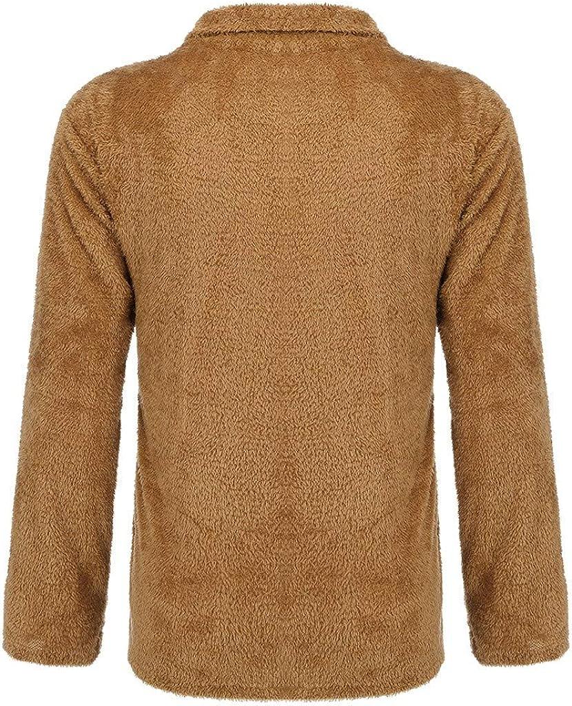 TTOOHHH Mens Winter Warm Zipper Pure-Colour Sanitary Jacket Coat Fleece Pullover top