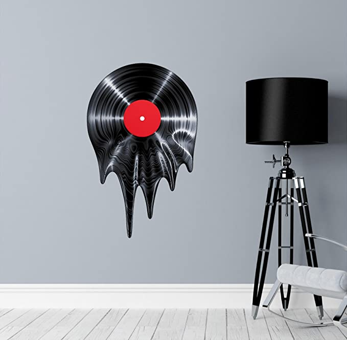 Amazon Com 18 Black Melting Record Wall Decal Removable Sticker Wall Art Music Classic Novelty 70s 80s Home Kitchen
