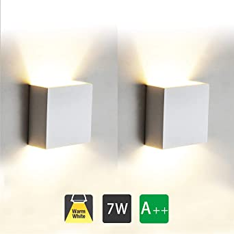 2 Pcs Aplique Pared Interior LED 7W Lámpara de pared Moderna 3000K Blanco Cálido Perfecto para Salon Dormitorio Sala Pasillo Escalera: Amazon.es: Iluminación