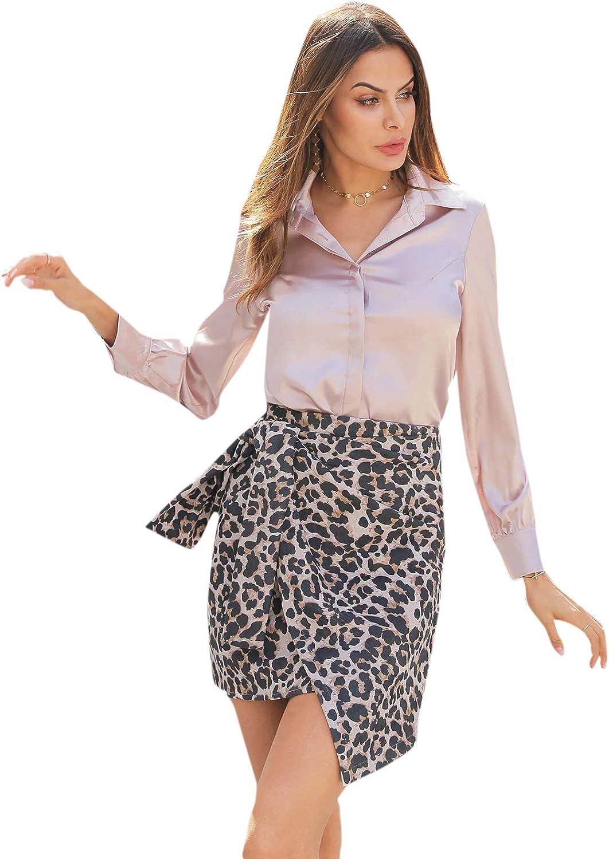 SOLY HUX Women's Satin Silk Long Sleeve Button Down Shirt Formal Work Blouse Top