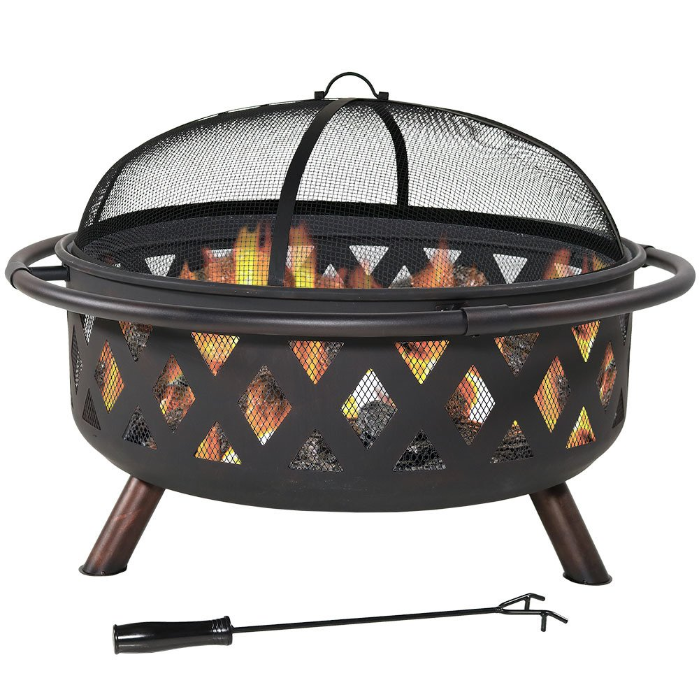 Sunnydaze Crossweave Outdoor Fire Pit - 36 Inch Large Bonfire Wood Burning Patio & Backyard Firepit for Outside with Spark Screen, Poker, and Round Fireplace Cover, Black by Sunnydaze Decor