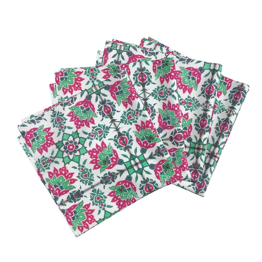 Roostery Antique Emerald Moroccan Fuchsia Tile Floral India Linen Cotton Dinner Napkins The Lata Tile ~ Forgotten by Peacoquettedesigns Set of 4 Dinner Napkins