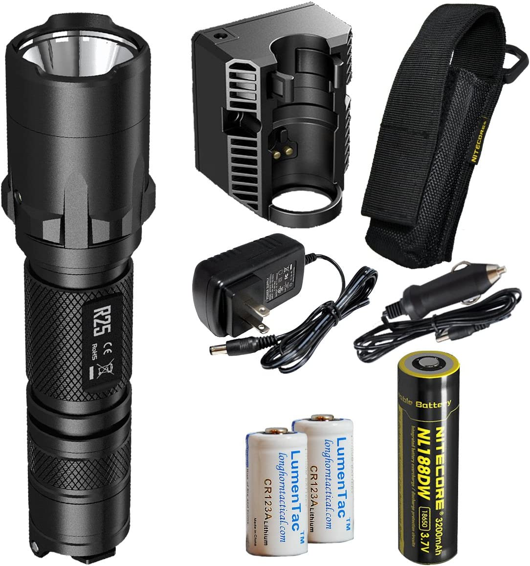 Nitecore R25 800 Lumens Rechargeable LED Tactical Police Flashlight – Including Rechargeable Battery, Charging Dock, Adapter, Holster and 2X LumenTac CR123A