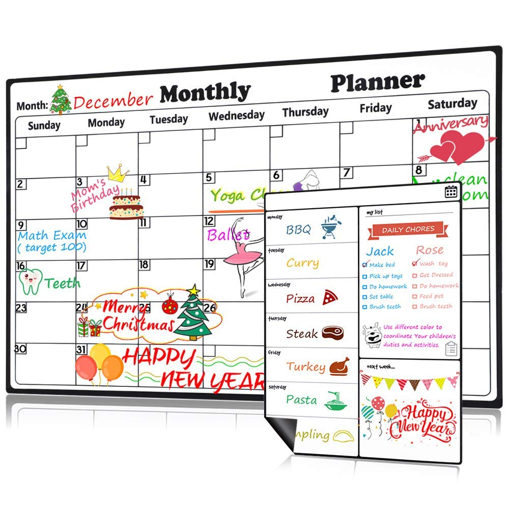 Magnetic Dry Erase Calendar for Refrigerator Weekly & Monthly Planner Set, 2019-2020 Fridge Calendar Kitchen Magnets Large Whiteboard Erasable Meal Planner Grocery List Organizer for Family Office