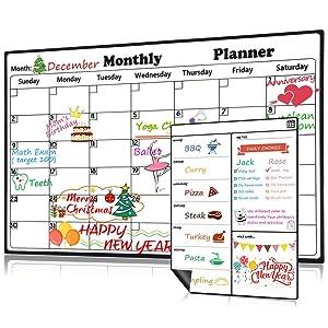Magnetic Dry Erase Calendar for Refrigerator Weekly & Monthly Planner Set, 2019-2020 Fridge Calendar Kitchen Magnets Large Whiteboard Erasable Meal Planner Grocery List Organizer for Family Office