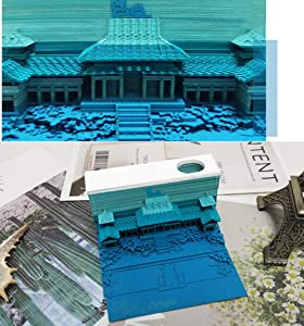 3D Stick Notes Convenience Stickers Papers Card, Memo Pads Paper Art Building Block, Delicate Craft Creative DIY Post Notes Notepad, 1Pc 170 Sheets (Blue Ancient Building)
