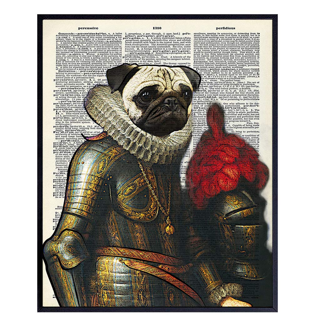 Pug Dictionary Art Print - Vintage Upcycled Wall Art Poster - Chic Rustic Home Decor for Bedroom, Office, Living Room, Den - Great Gift for Dog Lovers and Renaissance Fans - 8x10 Photo - Unframed