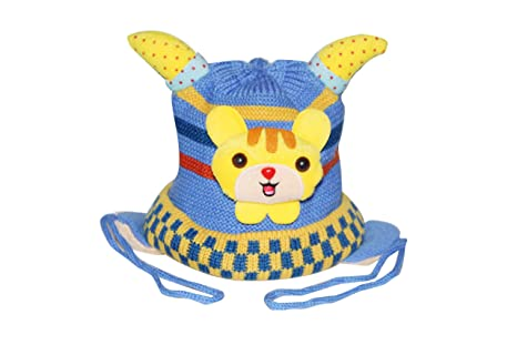 63a4f0f0c53 Buy Malvina Baby Boys Winter Hat Scarf Earflap Hood Scarves Skull Caps  (Blue) - Horn Cap Online at Low Prices in India - Amazon.in