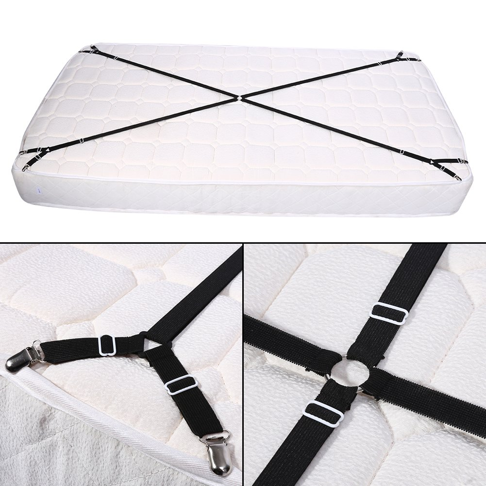 Amazon.com: Elastic Crisscross Mattress Sheet Straps Adjustable Triangle Grippers Holder for Fitted Bed Sheets, Mattress Pad Covers, Sofa Cushion(White): ...