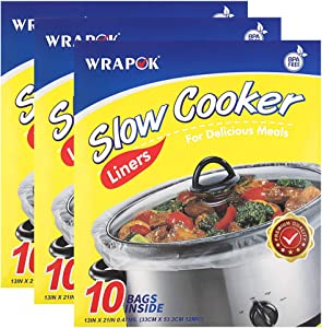WRAPOK Slow Cooker Liners Kitchen Disposable Cooking Bags BPA Free for Oval or Round Pot, Large Size 13 x 21 Inch, Fits 3 to 8.5 Quarts - 3 Pack (30 Bags Total)