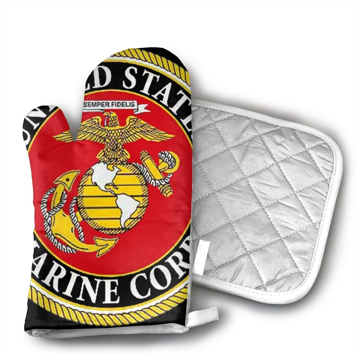 Teuwia United States Marine Corps Oven Mitts and Pot Holders Baking Oven Gloves Hot Pads Set Heat Resistant for Finger Hand Wrist Protection
