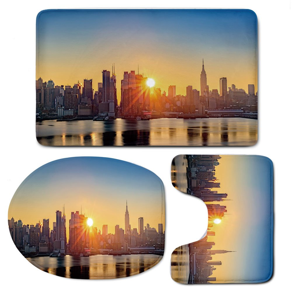 3 Piece Bath Mat Rug Set,City,Bathroom Non-Slip Floor Mat,Tranquil-Sunrise-at-Midtown-Manhattan-United-States-NYC-Waterfront-America,Pedestal Rug + Lid Toilet Cover + Bath Mat,Pale-Blue-Peach-Tan