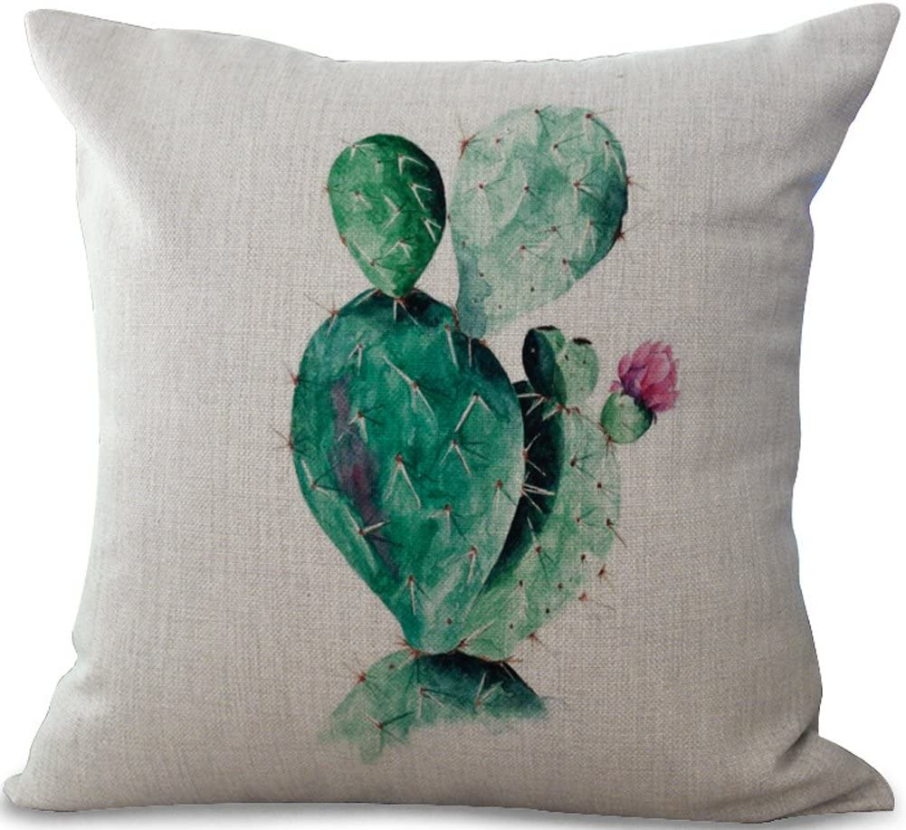 "ChezMax Cotton Linen Cushion Cover Cactus Pattern Square Decor Pillow Cover Decorative Throw Pillow Case 18"" X 18"""