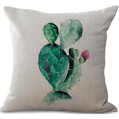 ChezMax Cotton Linen Cushion Cover Cactus Pattern Square Decor Pillow Cover Decorative Throw Pillow Case 18  X 18