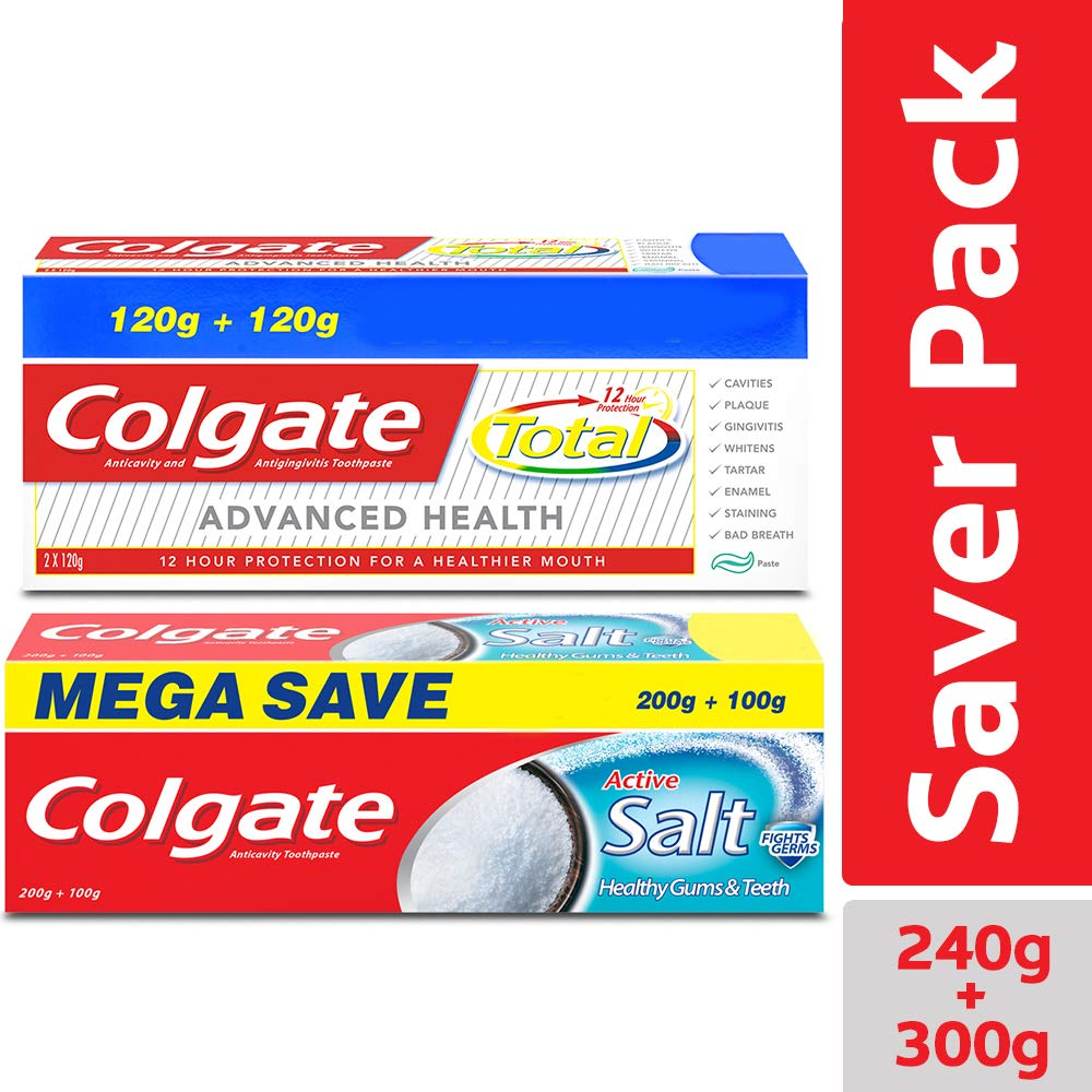 Colgate Total Advanced Health Anticavity Toothpaste - 240g with Colgate Active Salt Toothpaste - 300gm product image