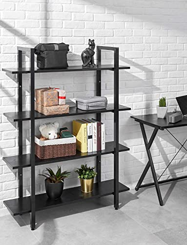 Bookshelf 4 Tier 41Wx12Dx55H inches Bookcase Solid 130lbs Load Capacity Industrial Bookshelf