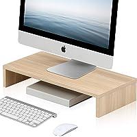 FITUEYES Computer Monitor Riser 54cm Desktop Laptop Stand with Keyboard Storage Space, Workspace Organizer, Beige…