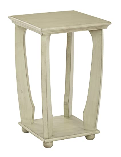 OSP Designs Mila Square Accent Table In Wood Finish, Antique Celadon
