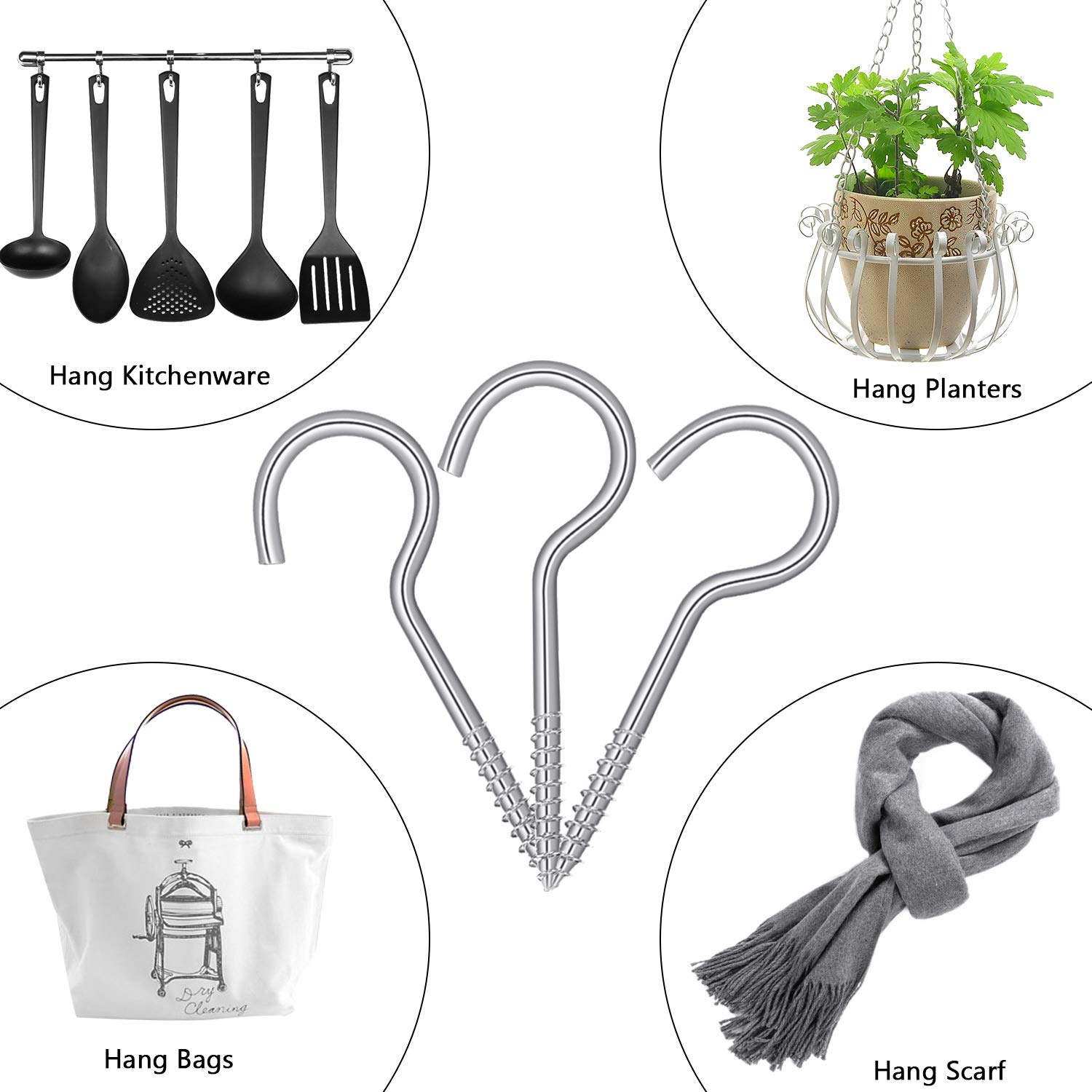 35 Pieces, 2.75 Inch Screw Hooks Self-Tapping Ceiling Hooks Carbon Steel Cup Hooks for Home Office Garden