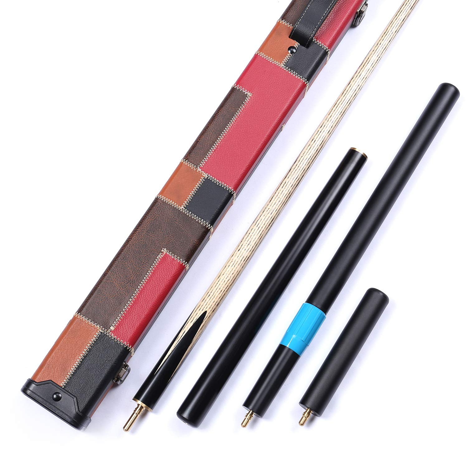 Grand-Cues--Handmade 58 3//4 Piece Ash Shaft Sapele Wood+Black Ebony Snooker Cue+Case+2 Extensions#P01