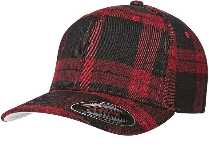 Flexfit 6197 Tartan Plaid Cap - Small Medium (Black Red Plaid) at ... c254a2c49b9