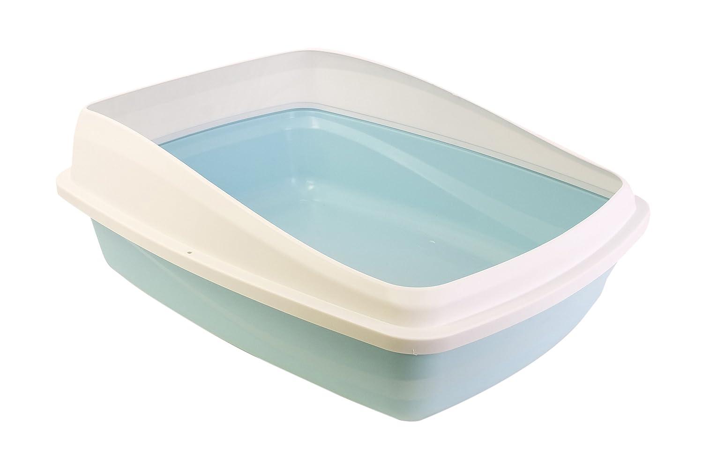 CATLOVE Bac à Litière avec Pare-Litière pour Chat Bleu/Gris Taille M 36621
