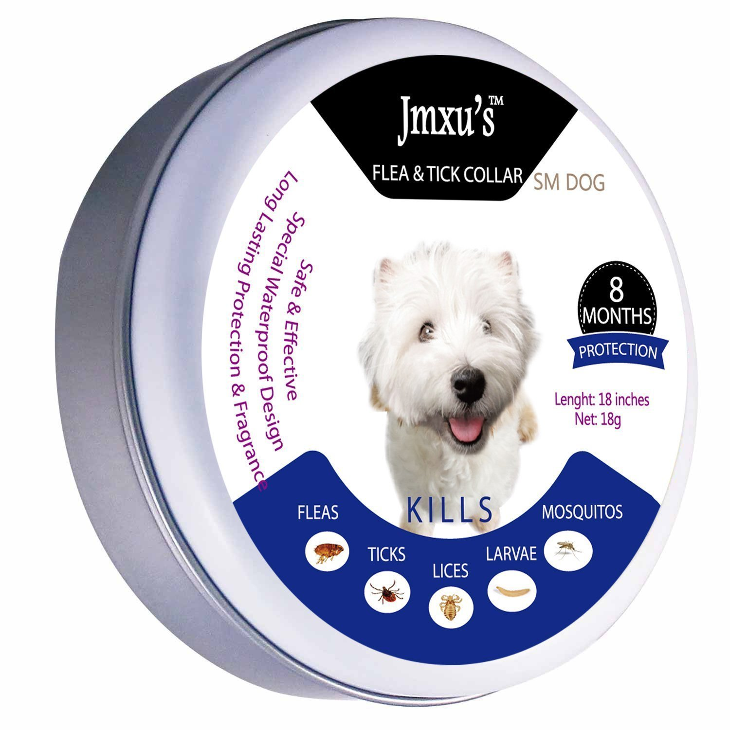 Jmxu's Flea & Tick Prevention for Dogs and Cats, Flea and Tick collar for Dogs and Cats, 18 inches, fits for small dogs, ALLERGY FREE, 8 MONTH PROTECTION