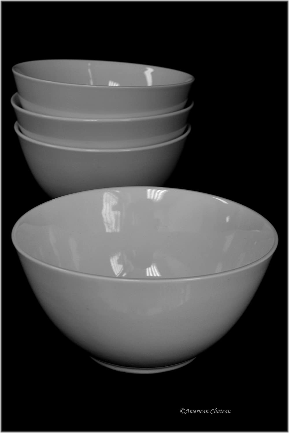 Set 4 Large 20oz Wide-Mouth White Porcelain Crock Dish Soup Cereal Bowls American Chateau