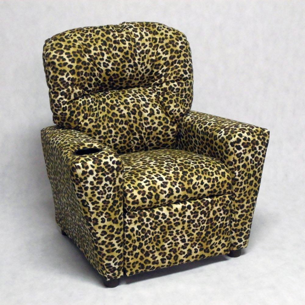 Brazil Furniture Cupholder Child Recliner - Amazon Sand Leopard