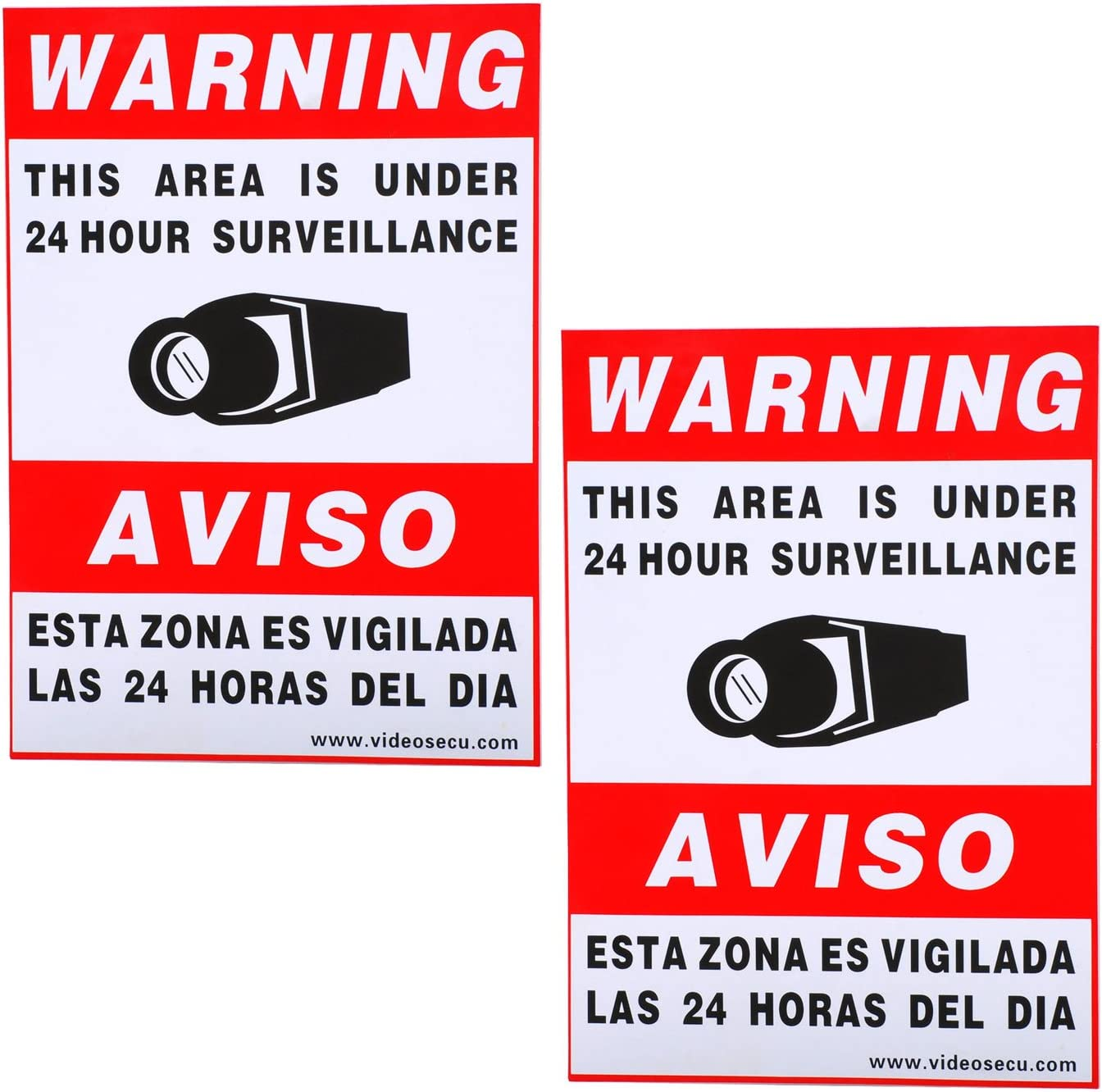 VideoSecu 2 Pack of 11.5x8.3 Security Warning Decal Weatherproof Vinyl Window Alarm Sign Sticker for Home CCTV DVR CCD Video Surveillance Camera System WO9