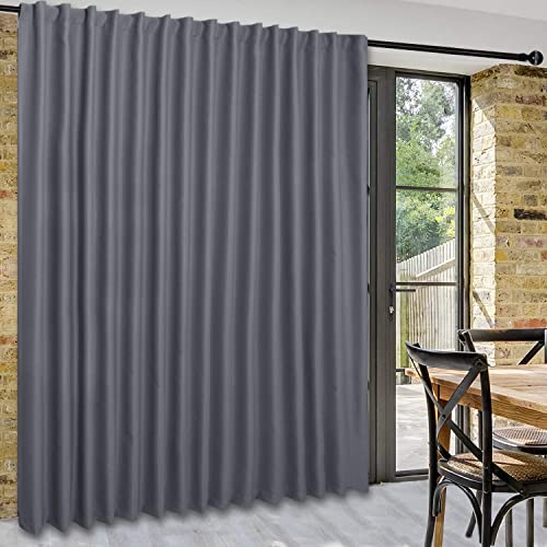 DWCN Privacy Room Divider Blackout Curtain – Patio Sliding Door Curtains, Extra Wide Thermal Curtains with Back Tab Rod Pocket for Living Room and Bedroom Partition, 120 x 96 Inches, Dark Grey