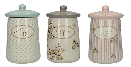 Katie Alice Set of 3 Cottage Flower Tea Coffee and Sugar Storage Jars  sc 1 st  Amazon.com : storage jars tea coffee sugar  - Aquiesqueretaro.Com