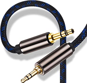 3.5mm Headphone Cable 8 Feet,Ruaeoda Double Shielded Aux Cable 3 .5mm Male to 3.5mm Male Stereo Audio Cable 8 Foot Long Headphone 1/8 Cord