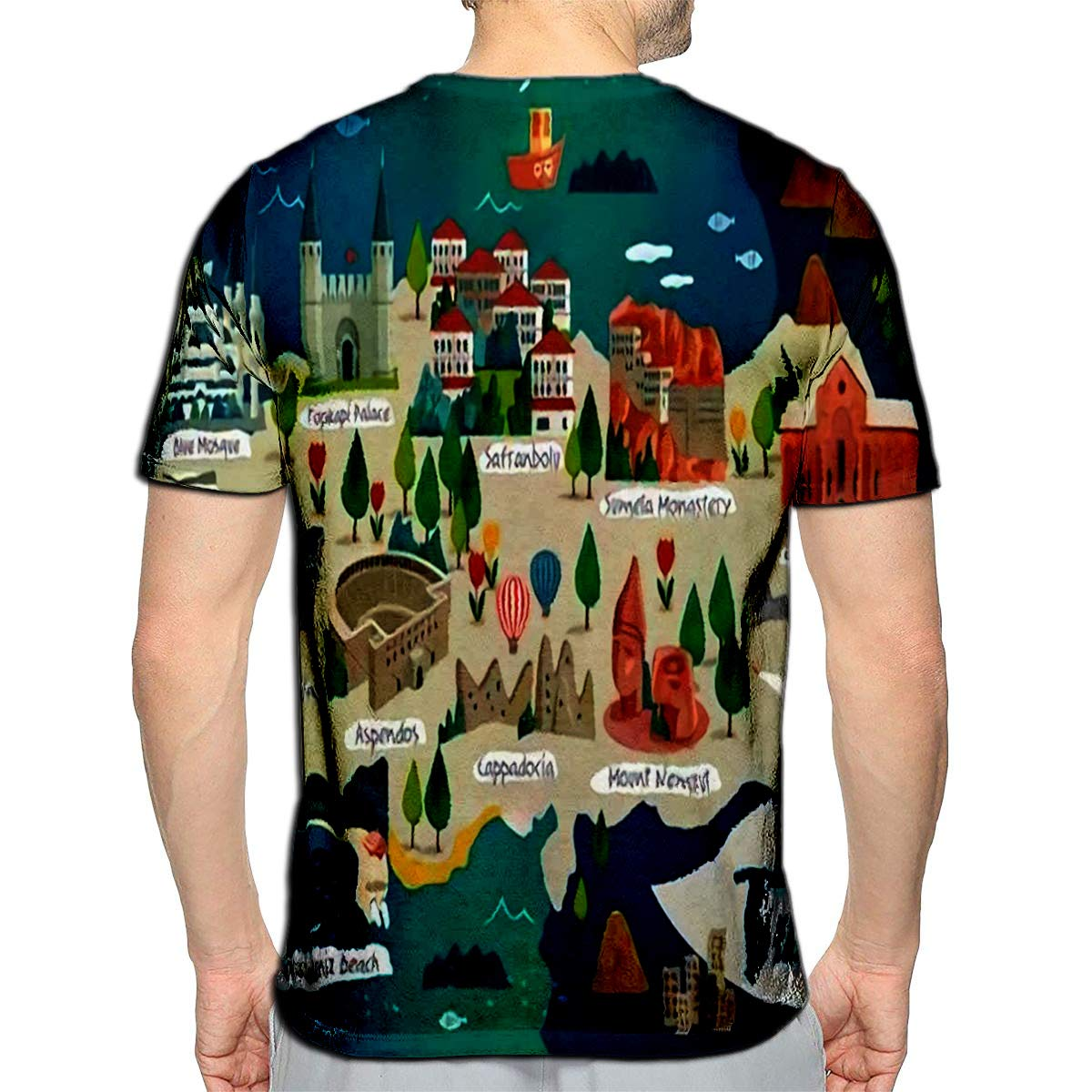 3D Printed T-Shirts Turkey Travel Map and Turkish Cotton Castle On The Left Side Saffron City Short Sleeve Tops Tees