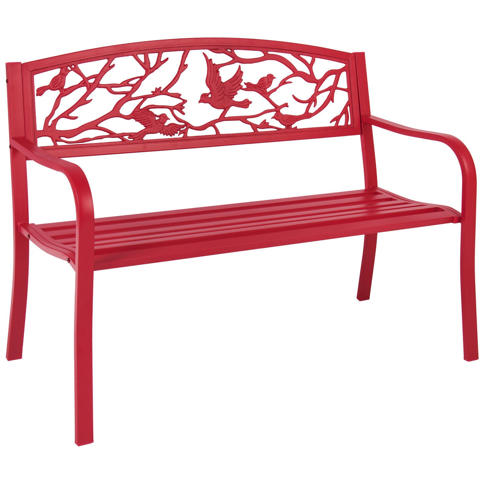 Rose Red Steel Patio Garden Park Bench Outdoor Living Patio Furniture by Alitop