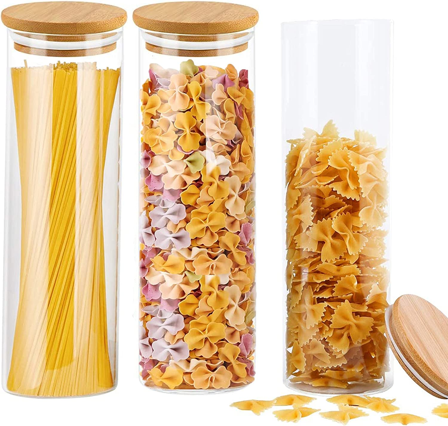 Glass Food Storage Jars Containers with Airtight Bamboo Lids,3PACK Glass Kitchen Canisters for Flour, Sugar, Coffee, Cookie Jar, Candy, Spaghetti ,Rice, Herbs, Grains- 47.5oz(1350ml)