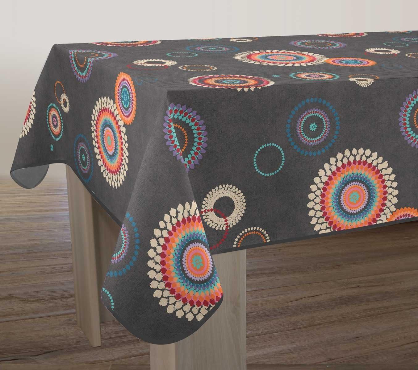 Taille Le linge de Jules Nappe Anti-Taches Paillettes Gris Carr/ée 150x150 cm