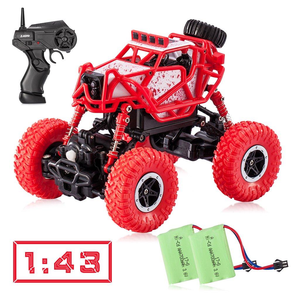 tobeape RC車、ワイヤレスリモートコントロールRCトラック、オフロードRCおもちゃ車、4 Wheelドライブトラック、誕生日ギフトクリスマスPresent for Children , Kids レッド U8-1/43RCCar-Red2 B075DHQJ8N Red(1/43 Scale)