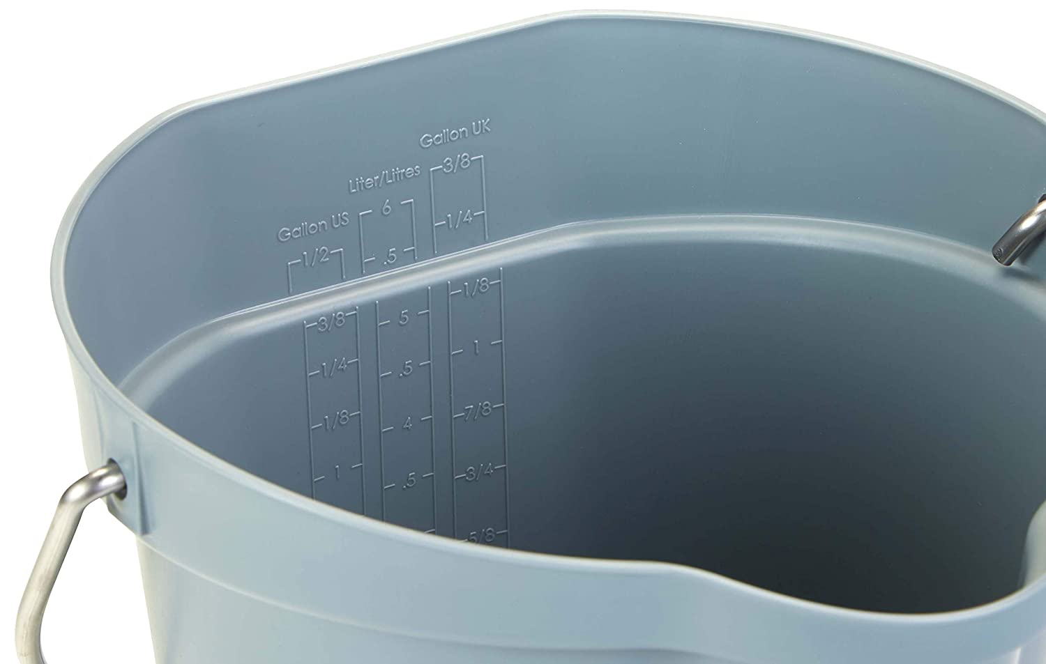 Vikan 56883 Plastic Round Heavy Duty Pail with Stainless Steel Hanger Blue 1.50 gal