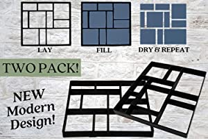 """2 Pack Stepping Stones Mold Kit for Garden Walkway 17.5"""" X 15.5"""" X 1.5"""" Concrete/Chalk/Cement Molds for Landscaping, Driveway, Sidewalk, Stone Mold, Paving Patios, Path Maker by Tough Love USA"""