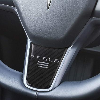 BASENOR Tesla Model 3 Steering Wheel Cover, Car Carbon Fiber Sticker  Steering Wheel Decoration Case Accessories for Tesla Model 3