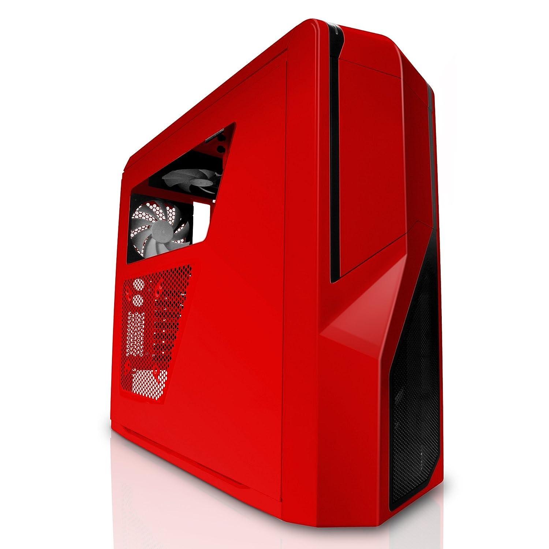 carcasa de ordenador pc rojo red