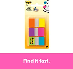 Post-it Flags Electric Glow.94 in x 1.7 in, 60 Flags per Pack (680-EG-ALT)
