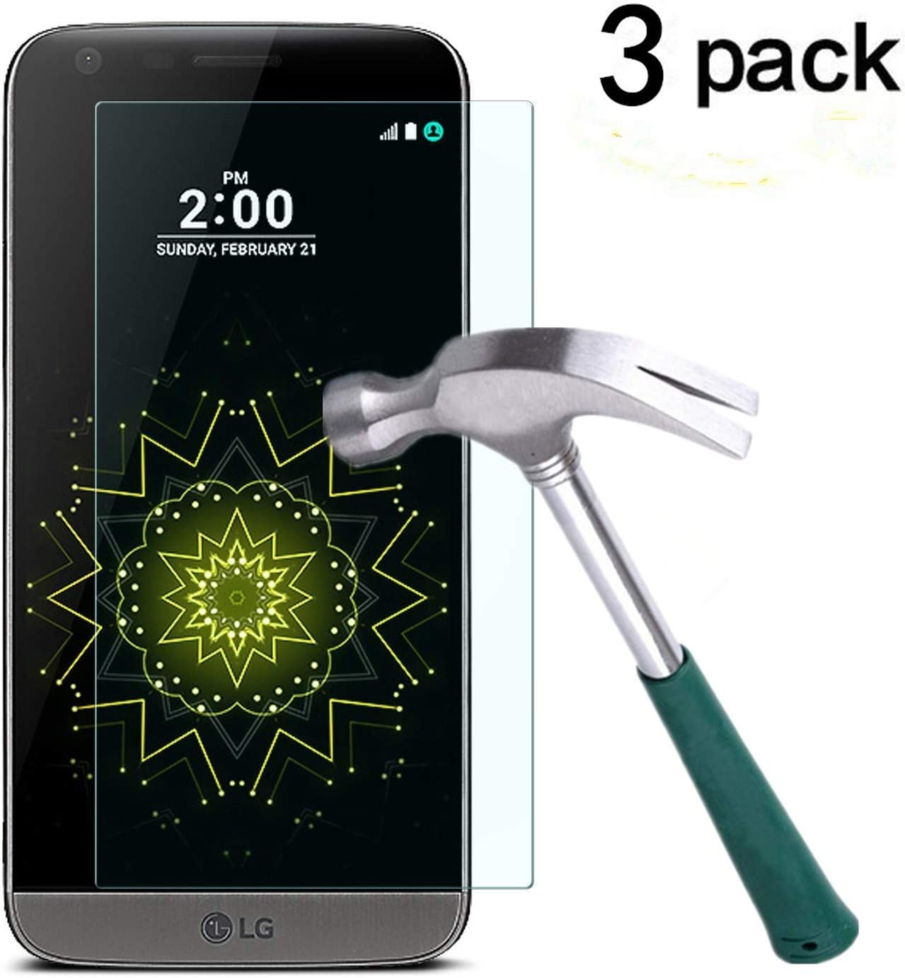 TANTEK 3-Pack High quality Screen Protector for LG G5 2016 free Release in 5.3